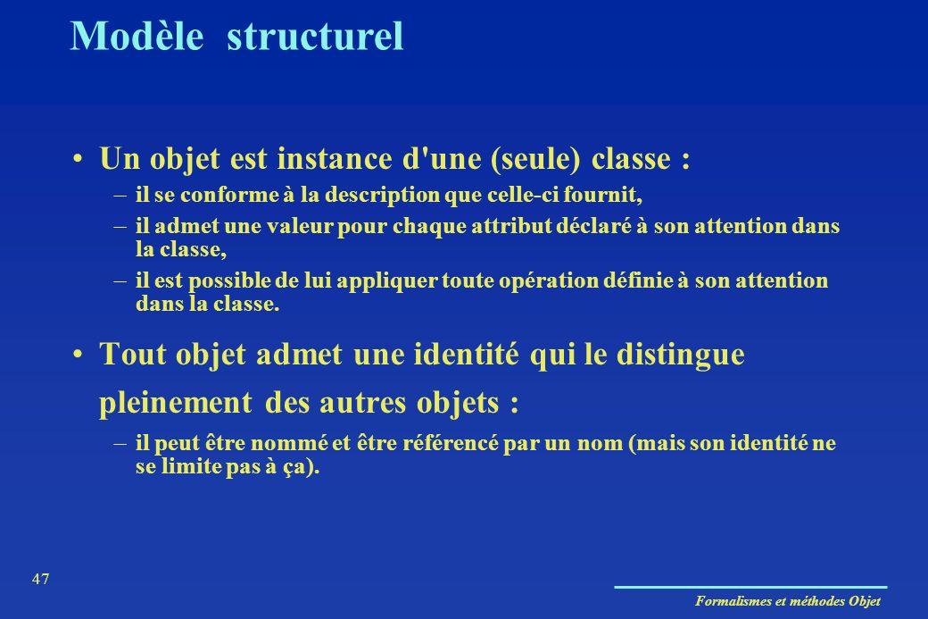 Modèle structurel Un objet est instance d une (seule) classe :