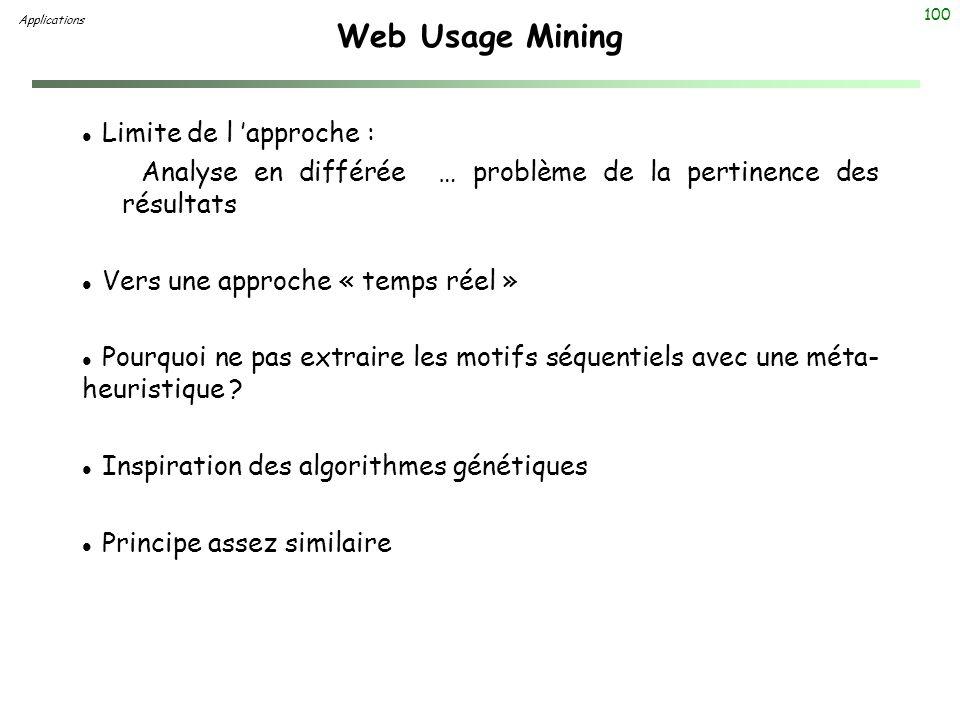 Web Usage Mining Limite de l 'approche :