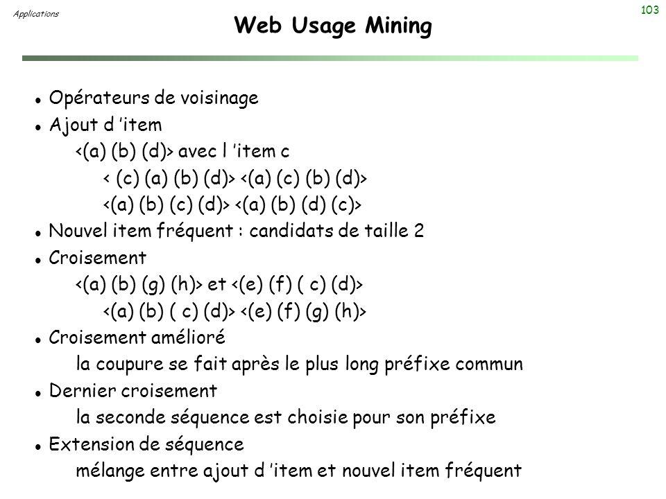 Web Usage Mining Opérateurs de voisinage Ajout d 'item