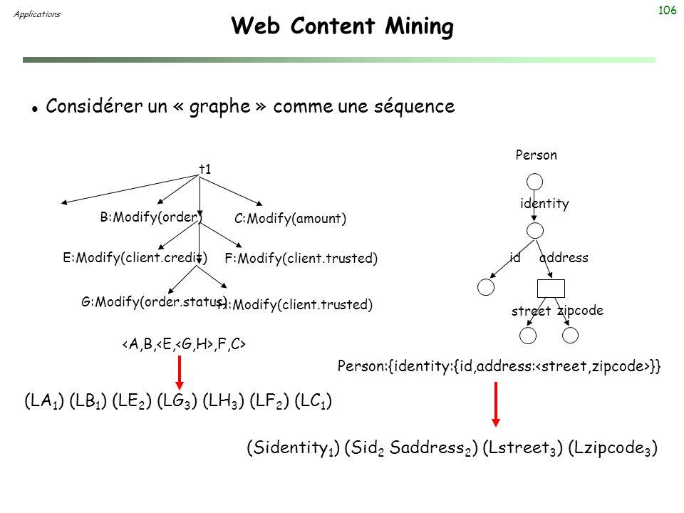Web Content Mining Considérer un « graphe » comme une séquence