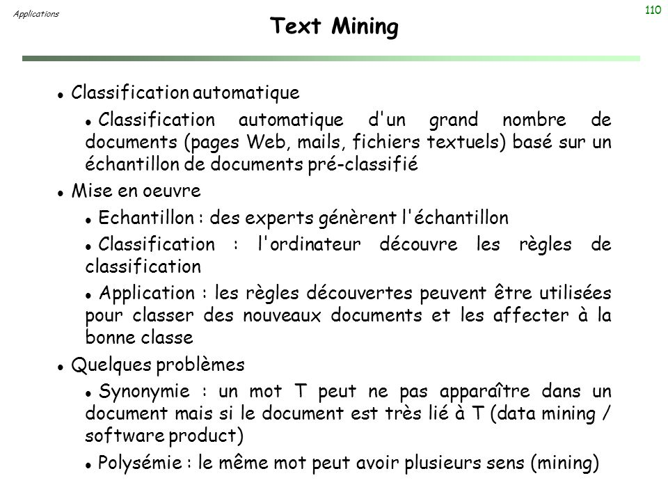 Text Mining Classification automatique