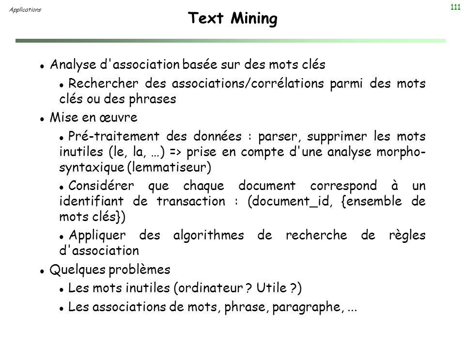 Text Mining Analyse d association basée sur des mots clés