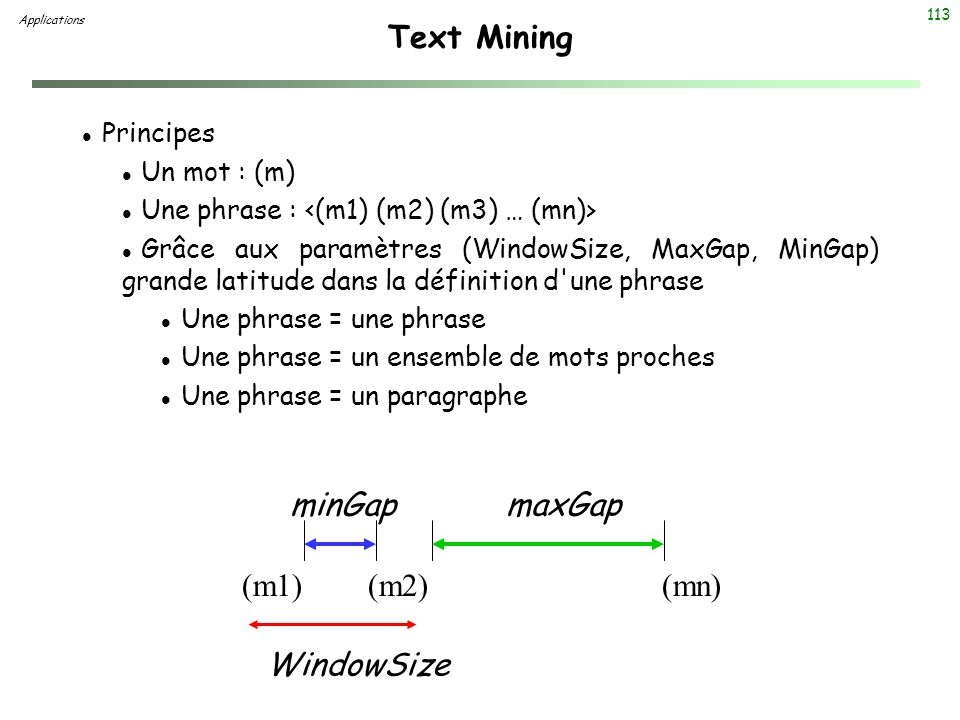 Text Mining minGap maxGap (m1) (m2) (mn) WindowSize Principes