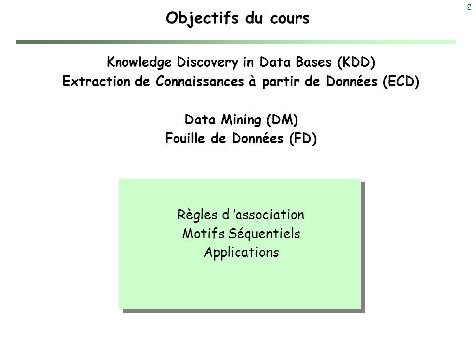 Objectifs du cours Knowledge Discovery in Data Bases (KDD)