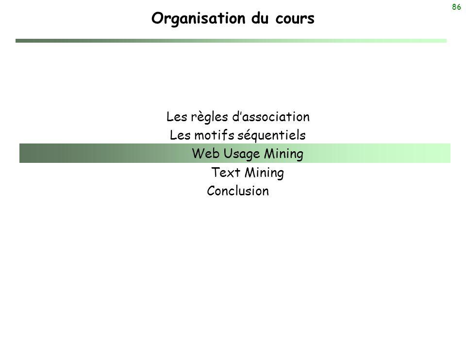 Organisation du cours Les règles d'association Les motifs séquentiels