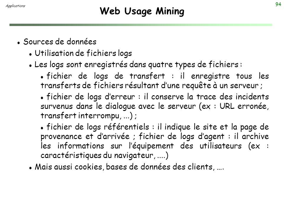 Web Usage Mining Sources de données Utilisation de fichiers logs