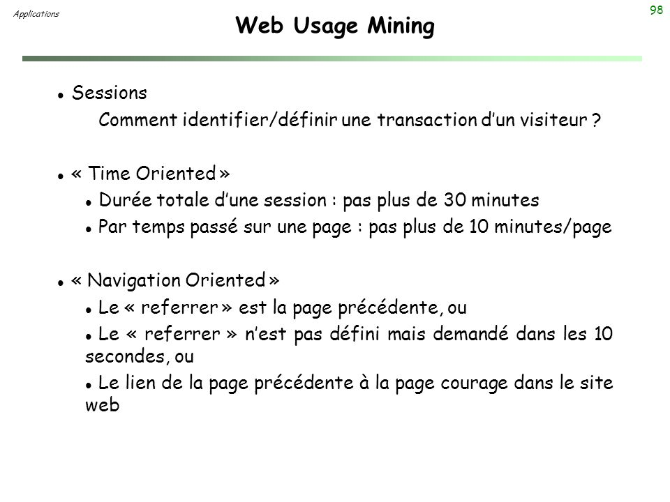 Web Usage Mining Sessions