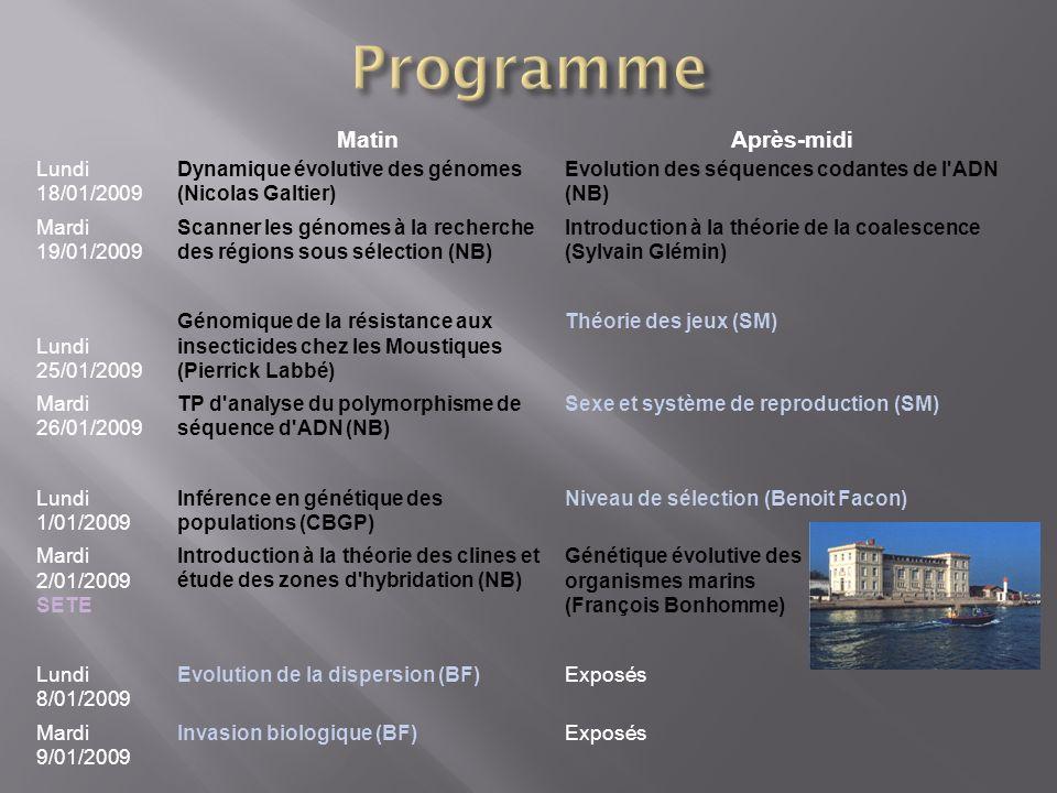 Programme Matin Après-midi Lundi 18/01/2009
