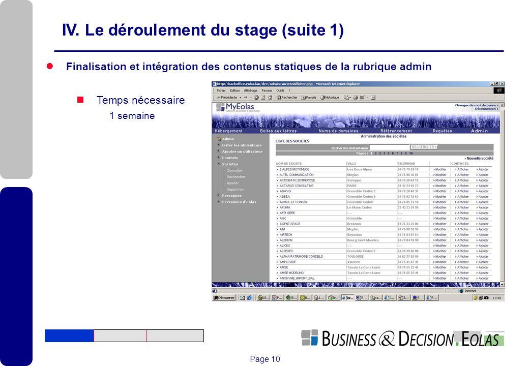 IV. Le déroulement du stage (suite 1)