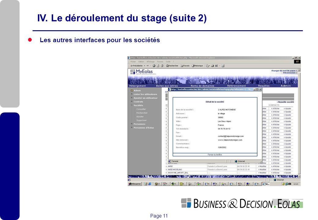 IV. Le déroulement du stage (suite 2)