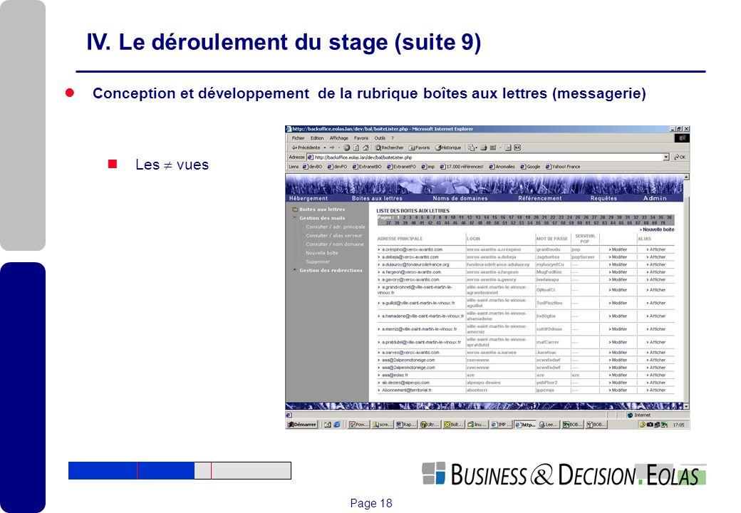 IV. Le déroulement du stage (suite 9)