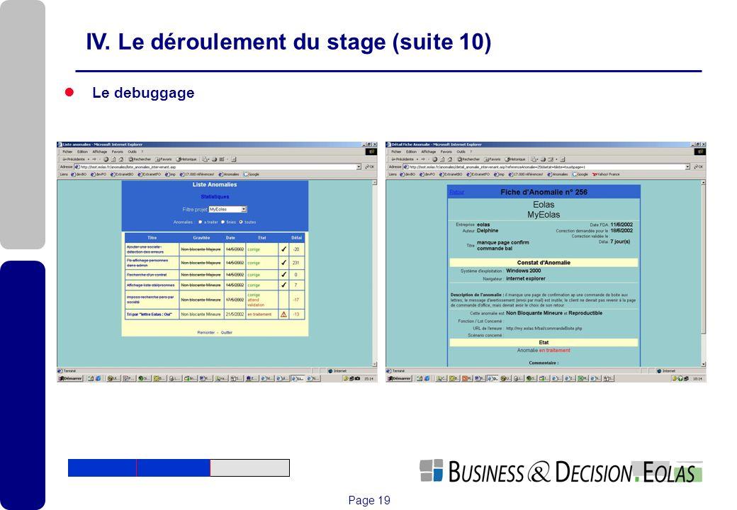 IV. Le déroulement du stage (suite 10)