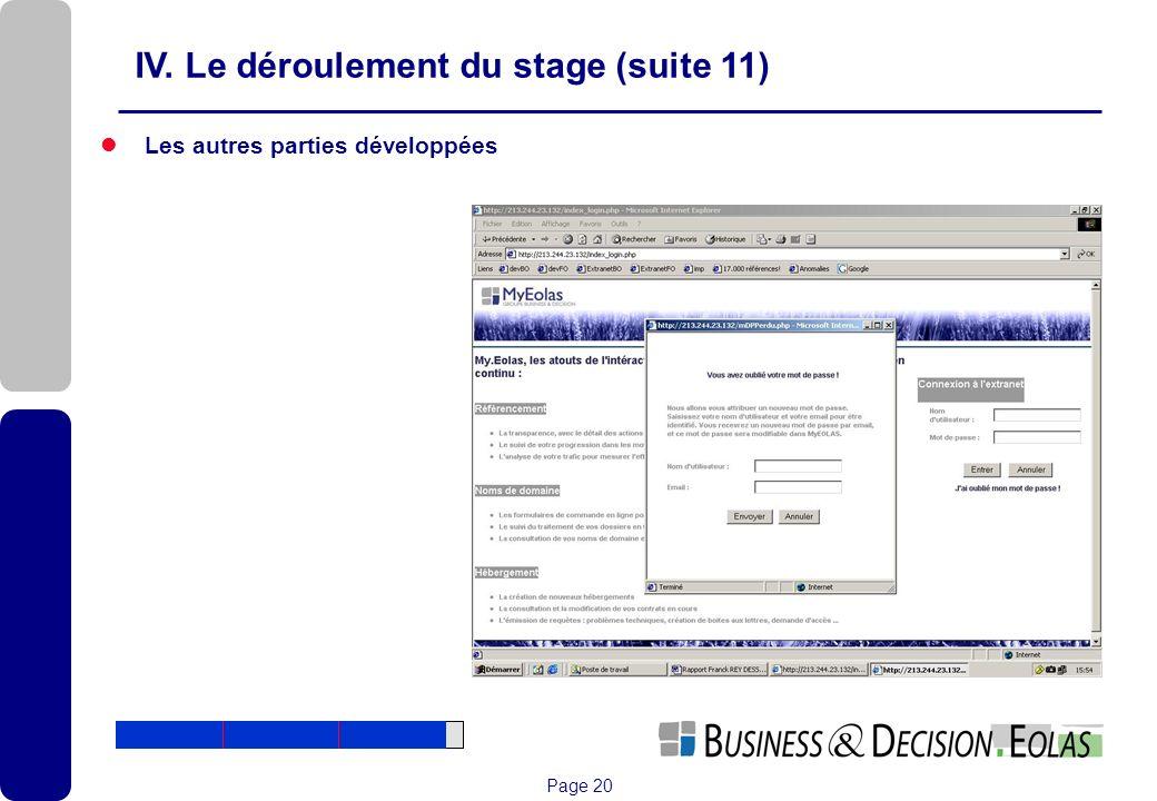 IV. Le déroulement du stage (suite 11)
