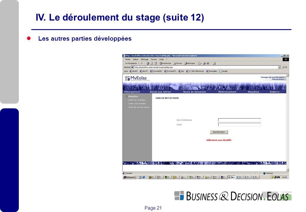 IV. Le déroulement du stage (suite 12)
