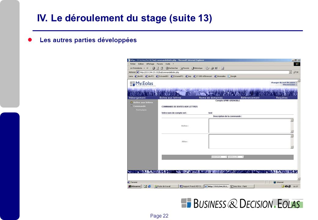 IV. Le déroulement du stage (suite 13)