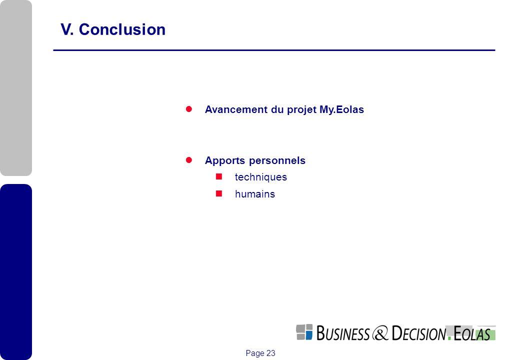 V. Conclusion Avancement du projet My.Eolas Apports personnels