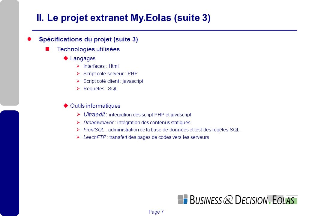 II. Le projet extranet My.Eolas (suite 3)
