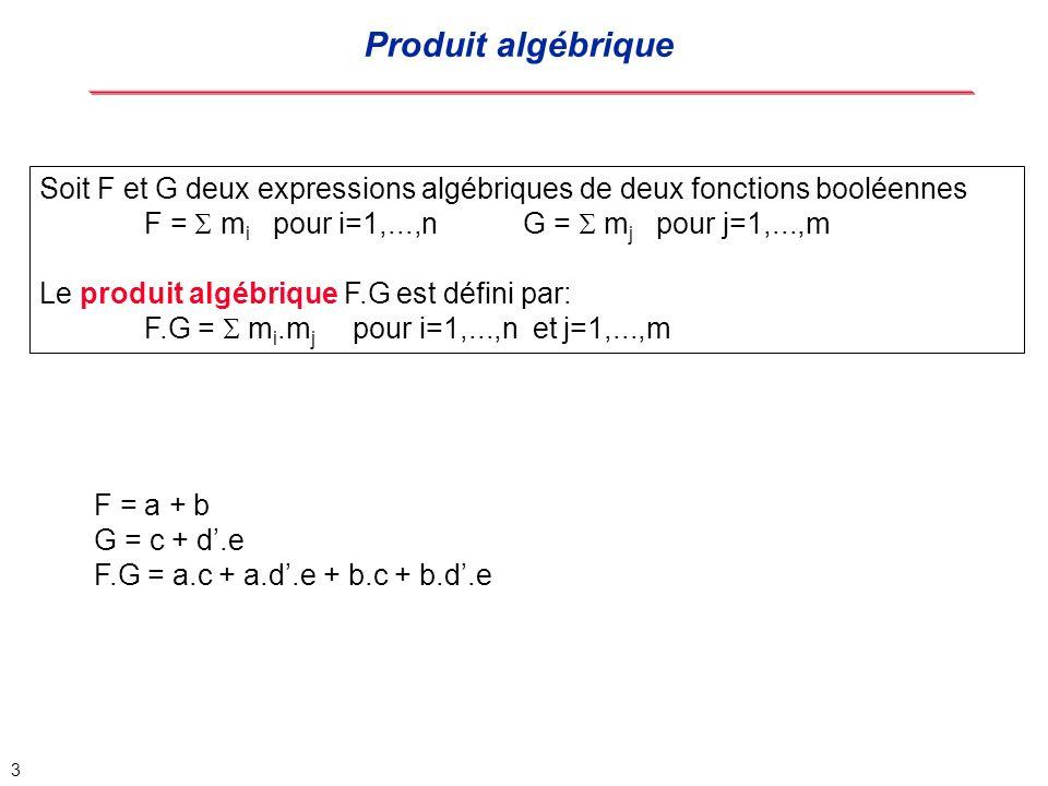 Produit algébrique Soit F et G deux expressions algébriques de deux fonctions booléennes.