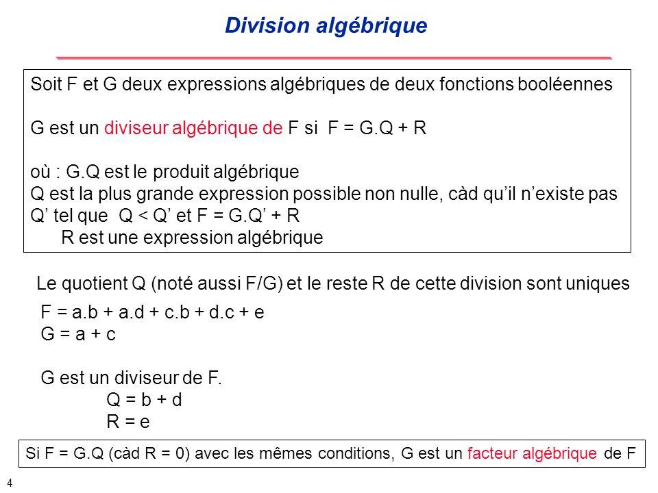 Division algébrique Soit F et G deux expressions algébriques de deux fonctions booléennes. G est un diviseur algébrique de F si F = G.Q + R.