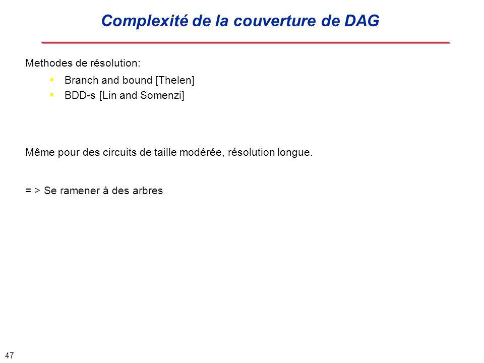 Complexité de la couverture de DAG