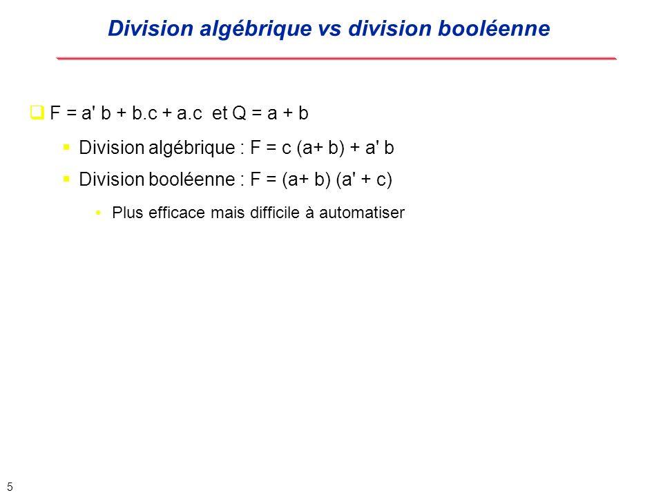 Division algébrique vs division booléenne
