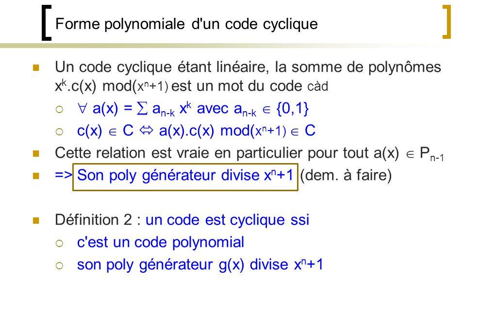 Forme polynomiale d un code cyclique