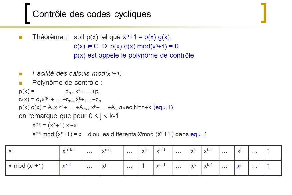 Contrôle des codes cycliques