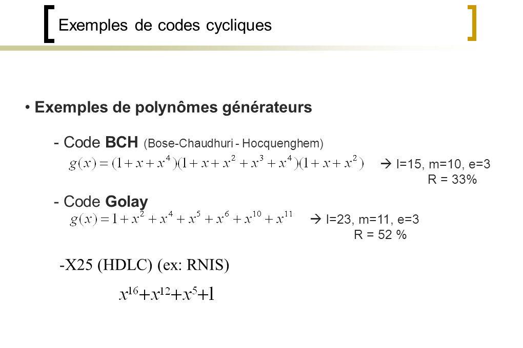 Exemples de codes cycliques