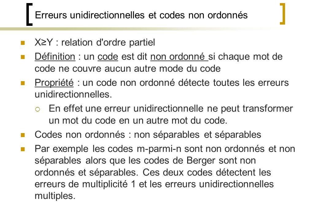 Erreurs unidirectionnelles et codes non ordonnés