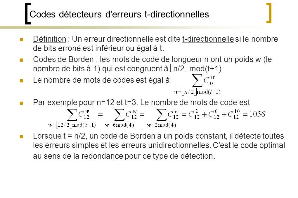 Codes détecteurs d erreurs t-directionnelles