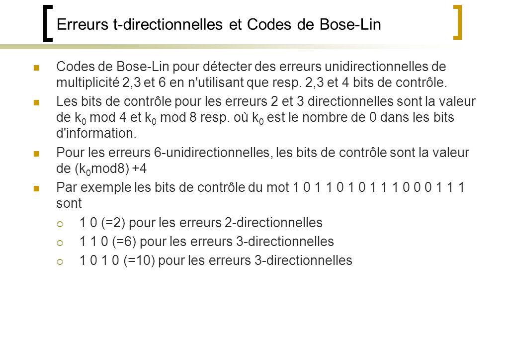 Erreurs t-directionnelles et Codes de Bose-Lin
