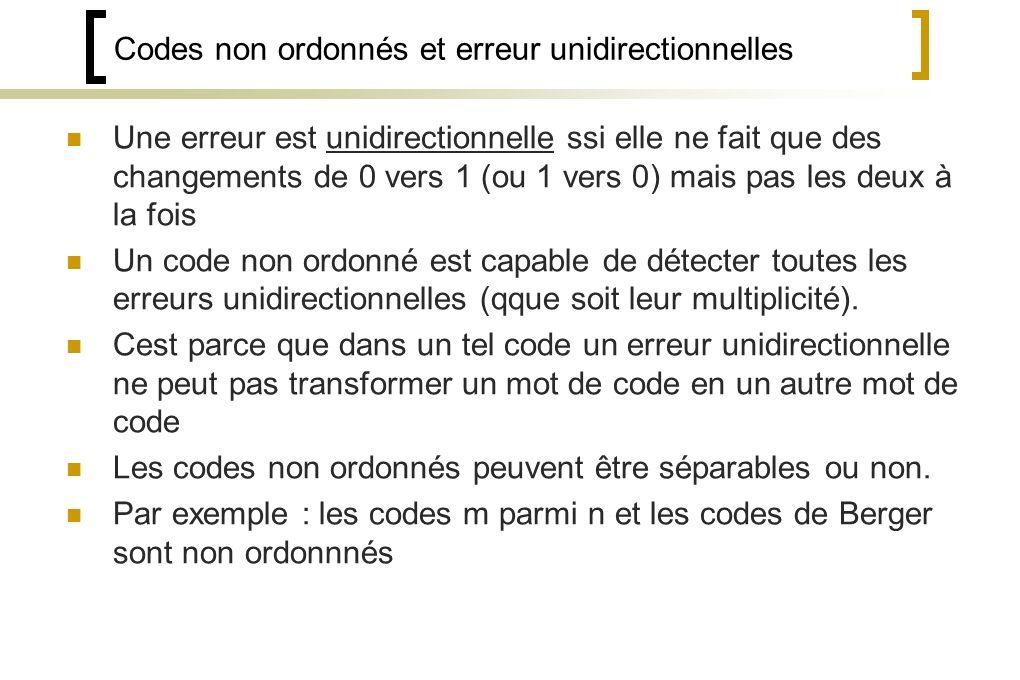 Codes non ordonnés et erreur unidirectionnelles