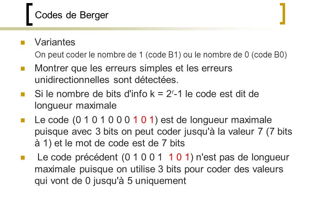 Codes de Berger Variantes