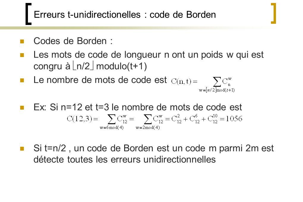 Erreurs t-unidirectionelles : code de Borden