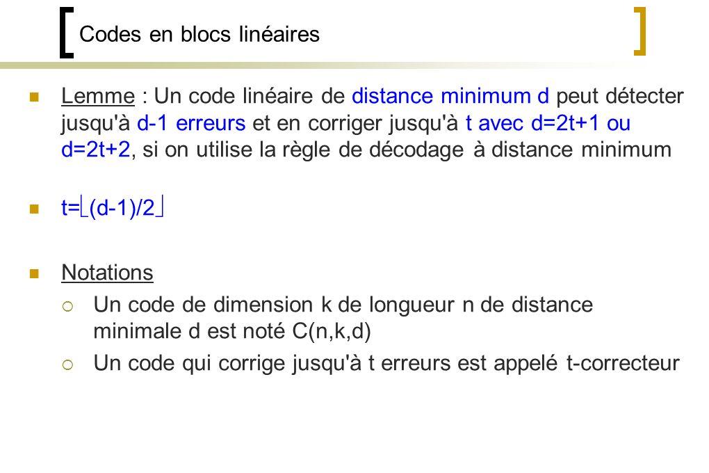 Codes en blocs linéaires