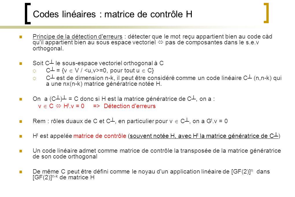 Codes linéaires : matrice de contrôle H