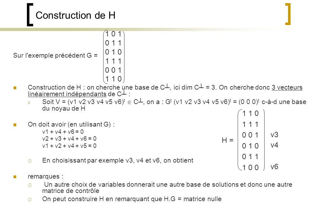 Construction de H 1 0 1. 0 1 1. 0 1 0. 1 1 1. 0 0 1. 1 1 0. Sur l exemple précédent G =
