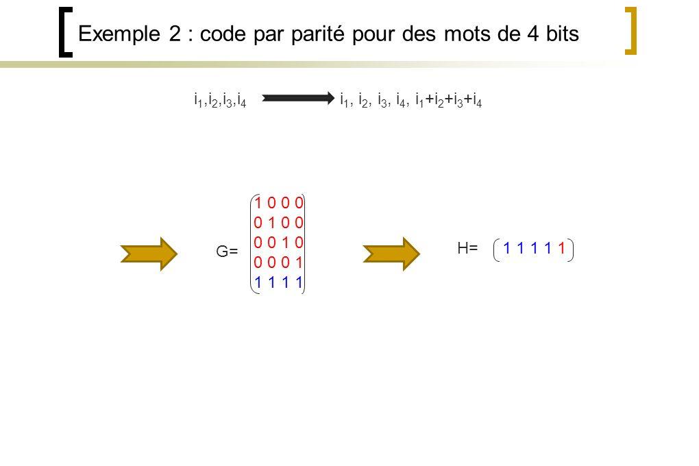 Exemple 2 : code par parité pour des mots de 4 bits