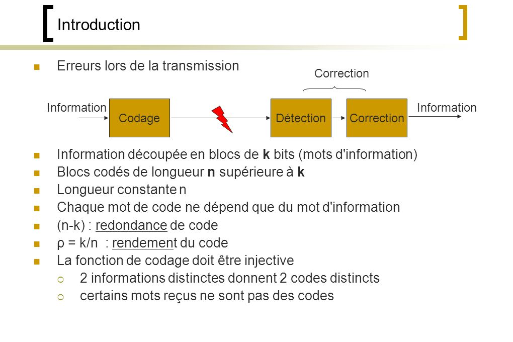 Introduction Erreurs lors de la transmission