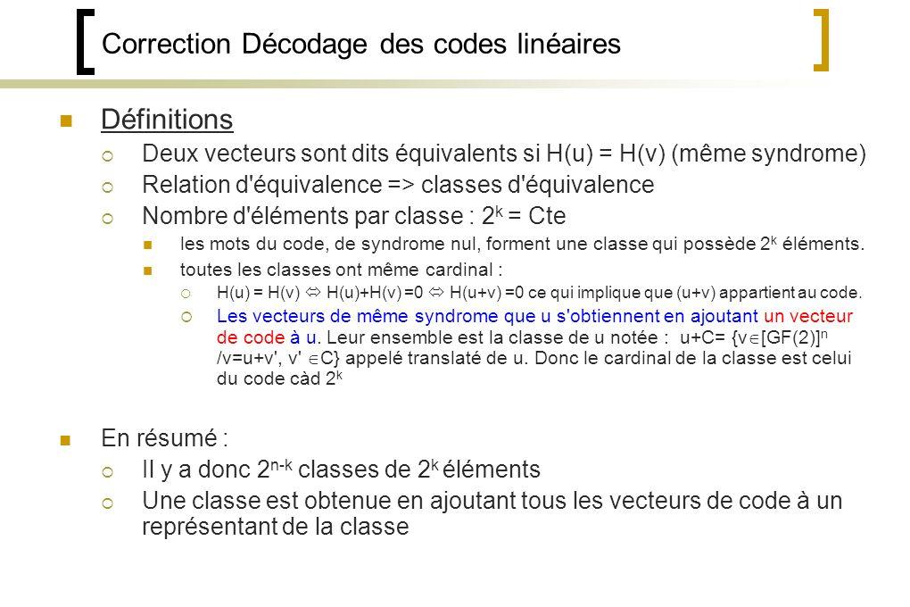 Correction Décodage des codes linéaires