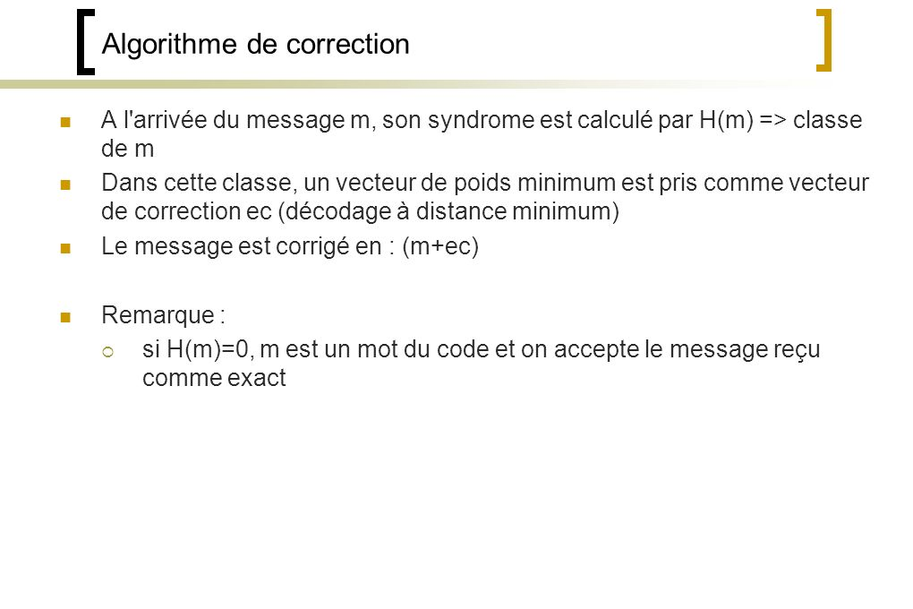 Algorithme de correction
