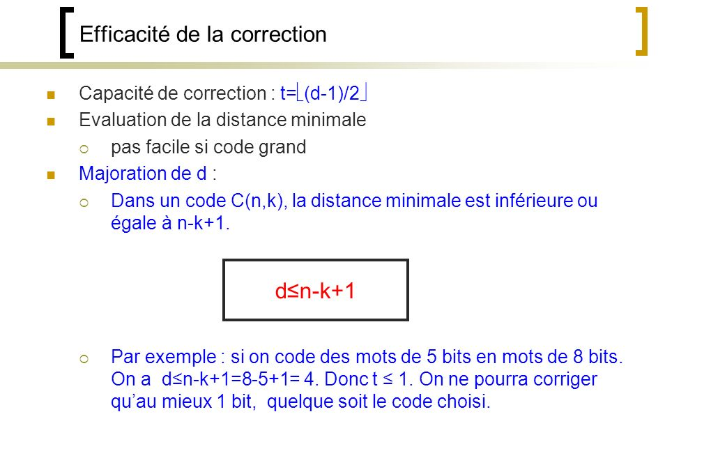 Efficacité de la correction
