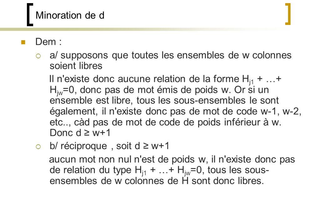 Minoration de d Dem : a/ supposons que toutes les ensembles de w colonnes soient libres.