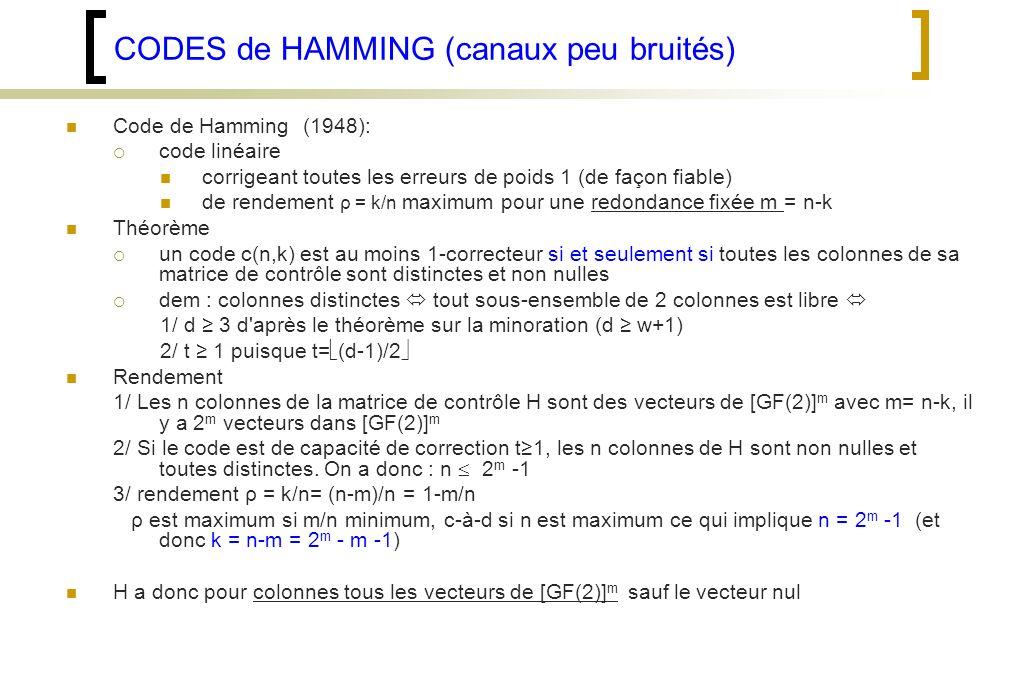 CODES de HAMMING (canaux peu bruités)