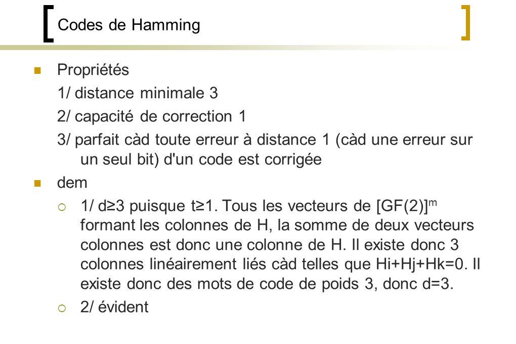 Codes de Hamming Propriétés. 1/ distance minimale 3. 2/ capacité de correction 1.