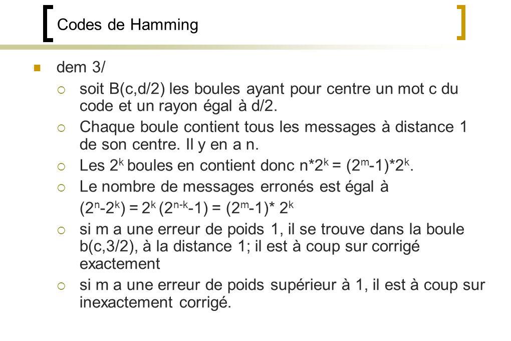Codes de Hamming dem 3/ soit B(c,d/2) les boules ayant pour centre un mot c du code et un rayon égal à d/2.