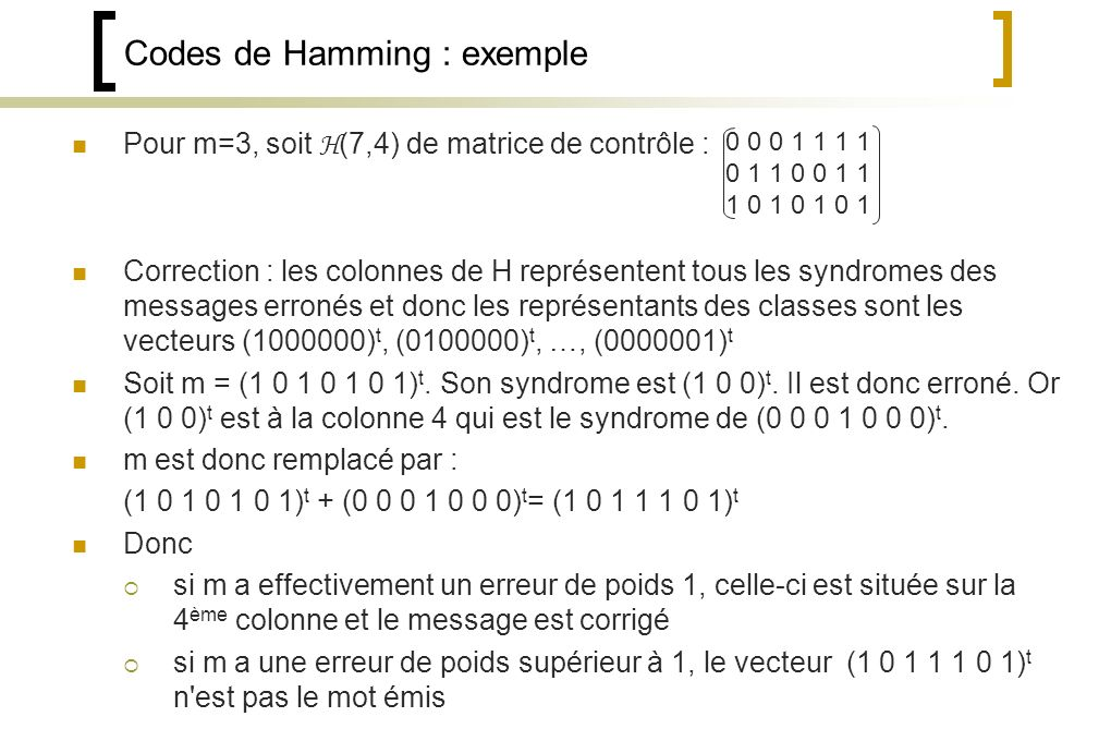 Codes de Hamming : exemple