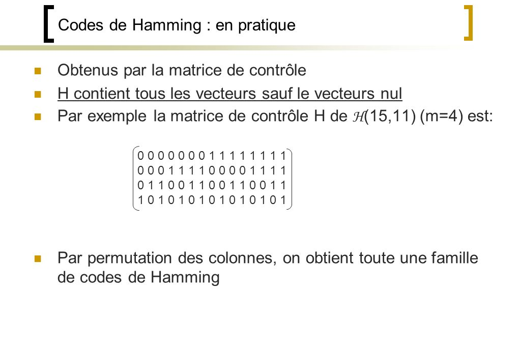 Codes de Hamming : en pratique