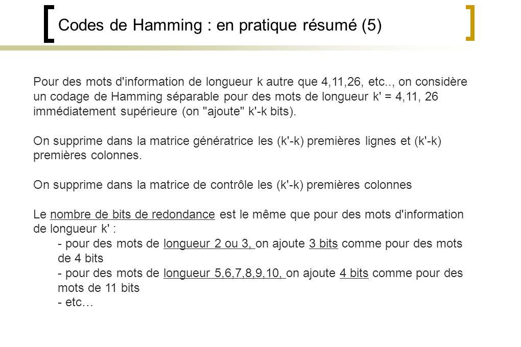 Codes de Hamming : en pratique résumé (5)