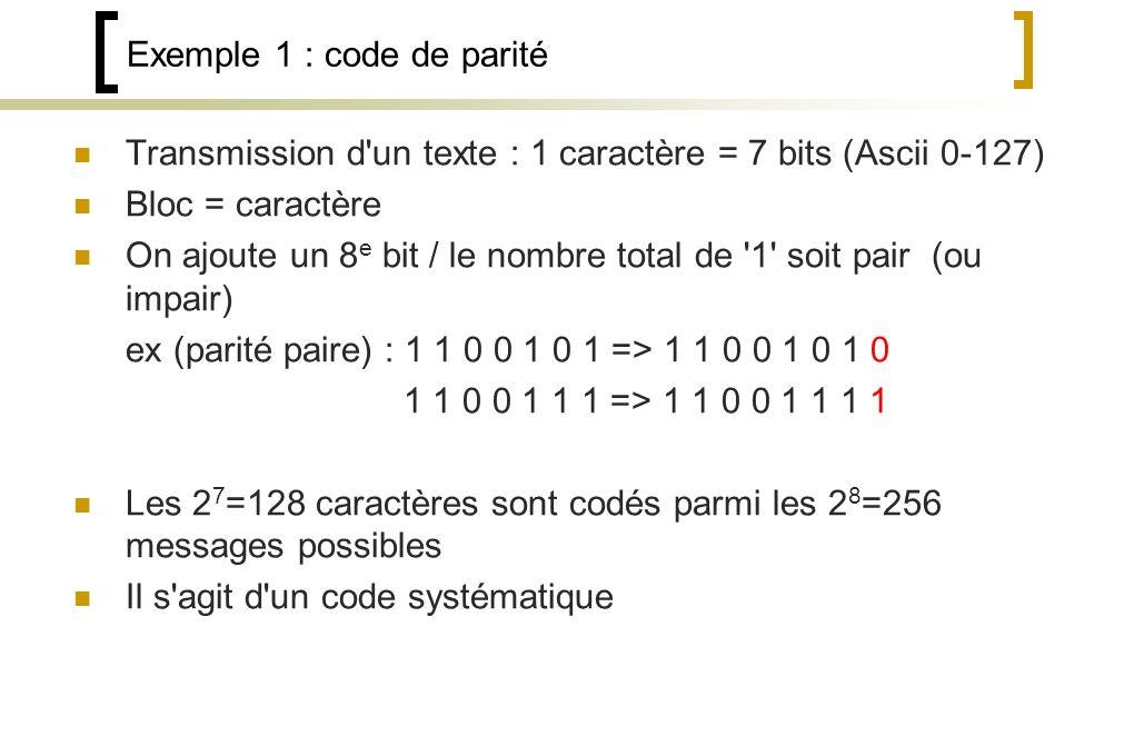 Exemple 1 : code de parité